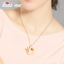 Korean Style Ms Contracted Acrylic Round Pendants Thin Chain Necklace Factory Wholesale(China)