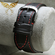 New Arrival 18mm 19mm 20mm  22mm  Genuine Leather Black Croco Grain Red Stitch Watch Band Strap Silver Depolyment Steel Buckle