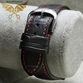 Nova chegada 18 mm 19 mm 20 mm 22 mm couro preto Croco Grain ponto vermelho faixa de relógio de prata de aço Depolyment