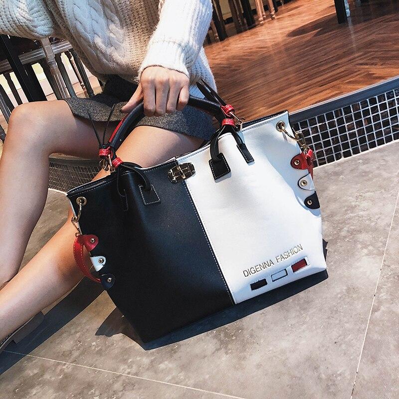 Bag Women Handbag PU Leather Tote Bag Ladies Designer Patchwork Handbags Female Casual Large Shoulder Bag