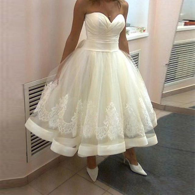 2017 Beach Tea Length Wedding Dresses Sweetheart A Line Lace Up vestido de noiva curto china-online-store