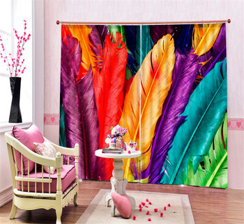 Colorful feathers 3D Blackout Window Curtains For kids Living room Bedding room Office Curtain Drapes Cortinas para sala