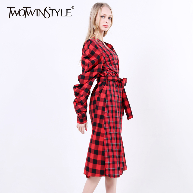 [TWOTWINSTYLE] 2017 Spring Classical Plaid Long Sleeve V Collar With Belt Lace Up High Waisted Shirt Dresses Women New