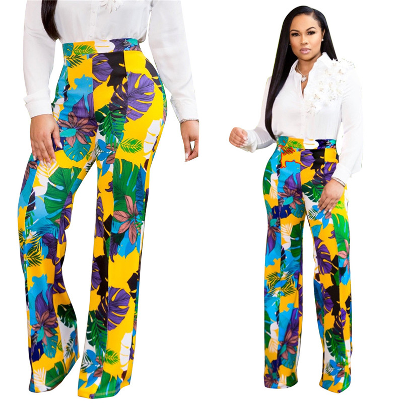 Women Summer High Waist   Wide     Leg     Pants   Casual Long   Pants   Lady Office Beach Streetwear Elastic Floral Print Loose Trousers   Pants