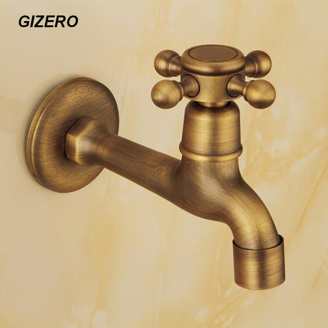 Antique Laundry Faucet Long Spout 100% Solid Brass Washing Machine ...