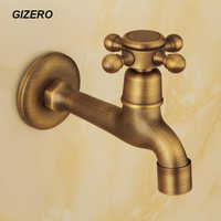 Antique Laundry Faucet Long Spout 100% Solid Brass Washing Machine Taps Copper Retro Classic Wall Mounted ZR200