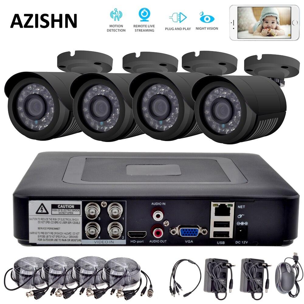 4CH CCTV системы 720 P HDMI AHD CCTV DVR 4 шт. 1,0 Мп ИК Открытый 1200 ТВЛ AHD камера системы видеонаблюдения безопасности камера системы