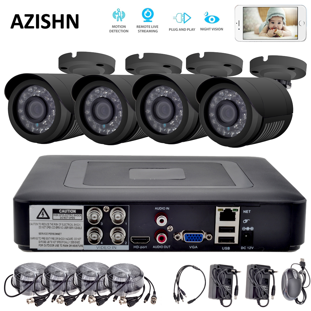 4CH CCTV System 720P HDMI AHD CCTV DVR 4PCS 1 0 MP IR Outdoor Security