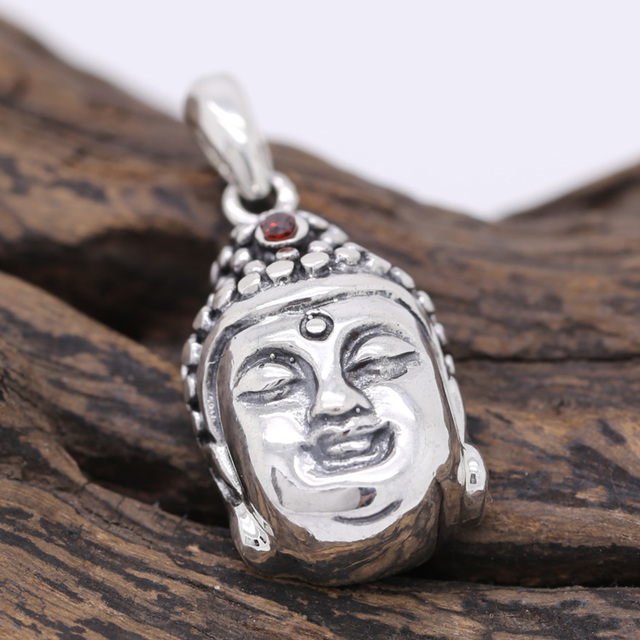 Handcrafted 925 Silver Buddha Pendant vintage sterling silver Tibetan Buddha Head Amulet Pendant Good Luck Amulet