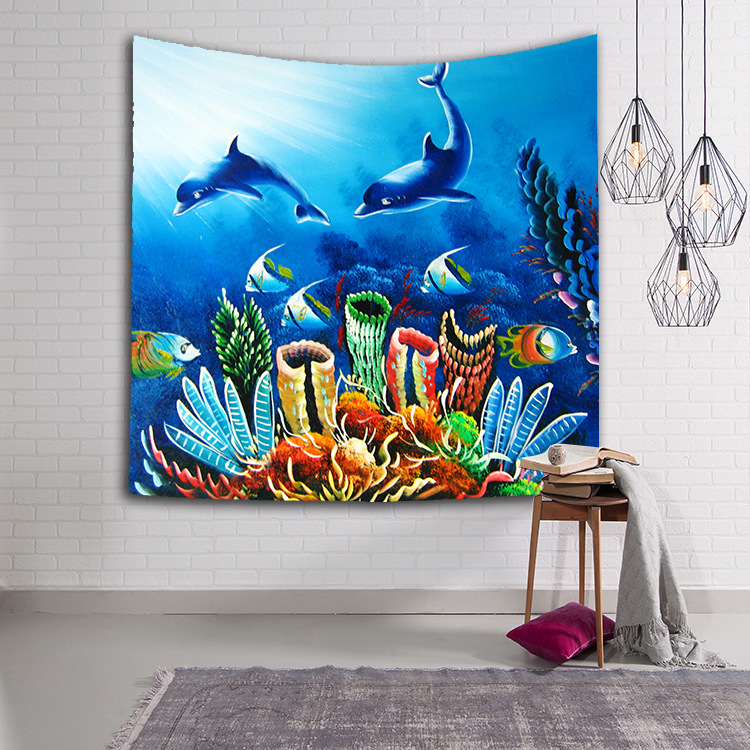 Image 2 - CAMMITEVER Turtles Dolphin Blue Sea Animals Fish Tapestry Wall Hanging Throw Home Decor for Living Room Bedroom Dorm Deccor-in Tapestry from Home & Garden