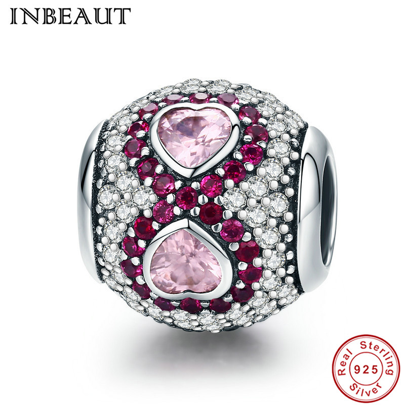 INBEAUT 100% Real 925 Sterling Silver Endless Love Pink Heart Zircon Stone Wine Red&White CZ Beads fit Pandora Charm Bracelet