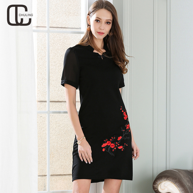 Summer Women Embroidery Applique Elegant Retro Large Size Dresses Short Sleeve Vintage Plus Size Woman Chinese Style Dress