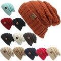 2017 Solid Adult GorroL.L Men's Women's Chucky Stretch Cable Knit Slouch Beanie Hat bonnet femme Winter Hats for Women GirlsA380