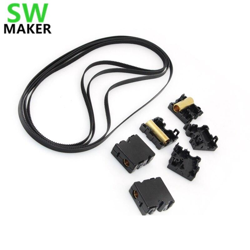 SWMAKER 4pcsset UM2 Ultimaker2 3D printer GT2 610mm timing belt + DIY Original injection slider+ copper sleeve