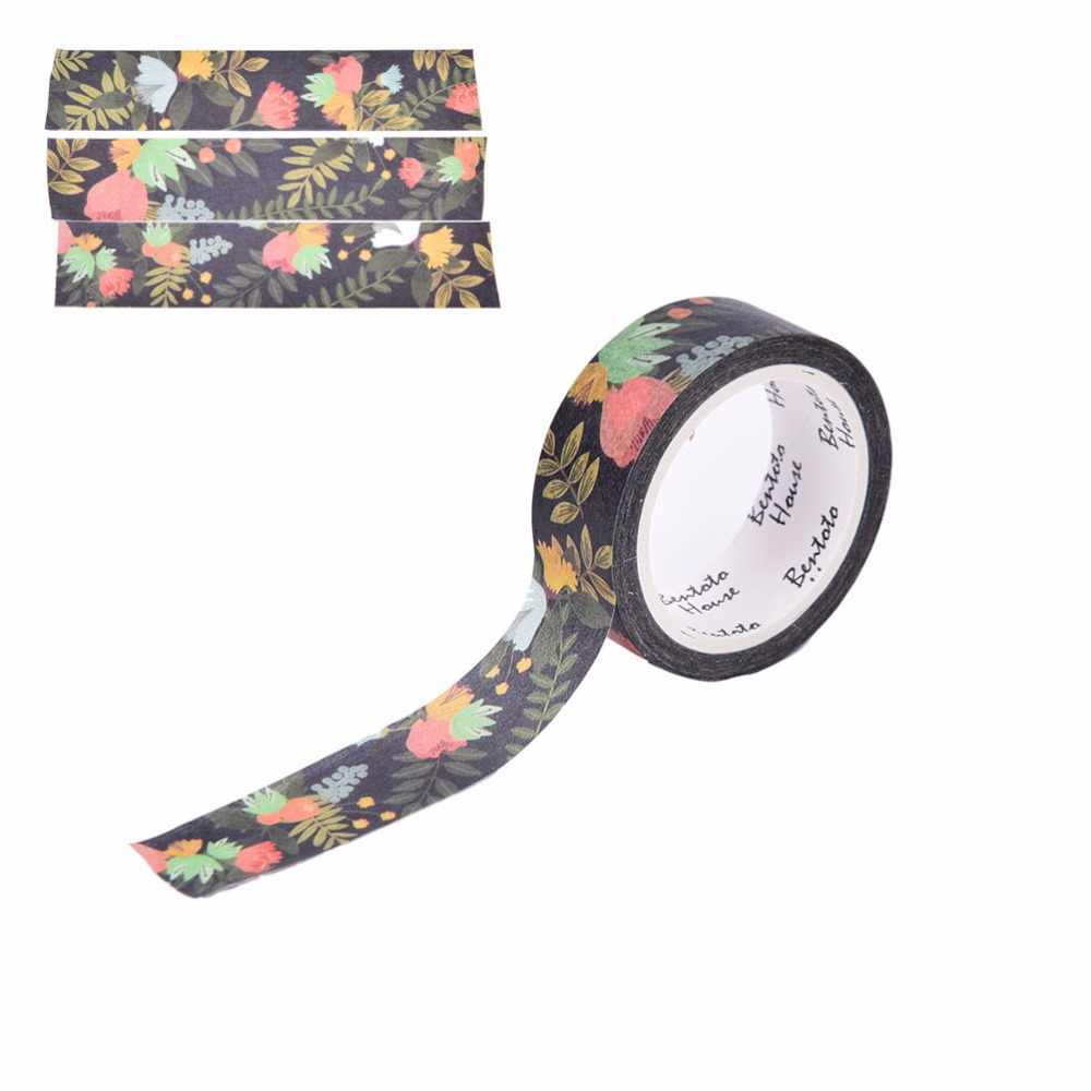 DIY Dekoratif Perekat Stiker Kertas Tape Masking Tape Dark Flowers Washi Tape Scrapbooking Washi Tape