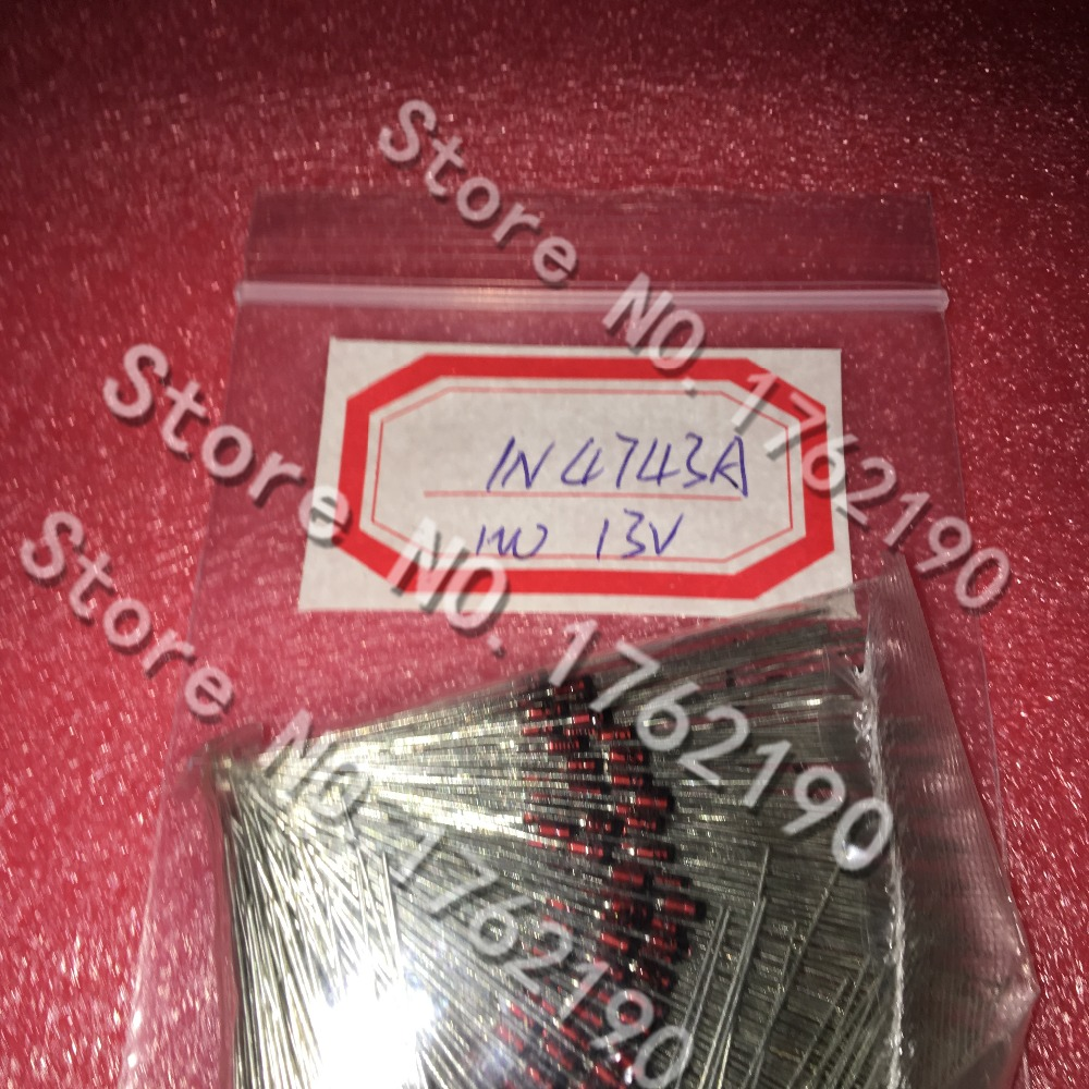 500PCS/LOT 1W Zener Diode <font><b>1N4743A</b></font> 13V Glass Package DO-41 image