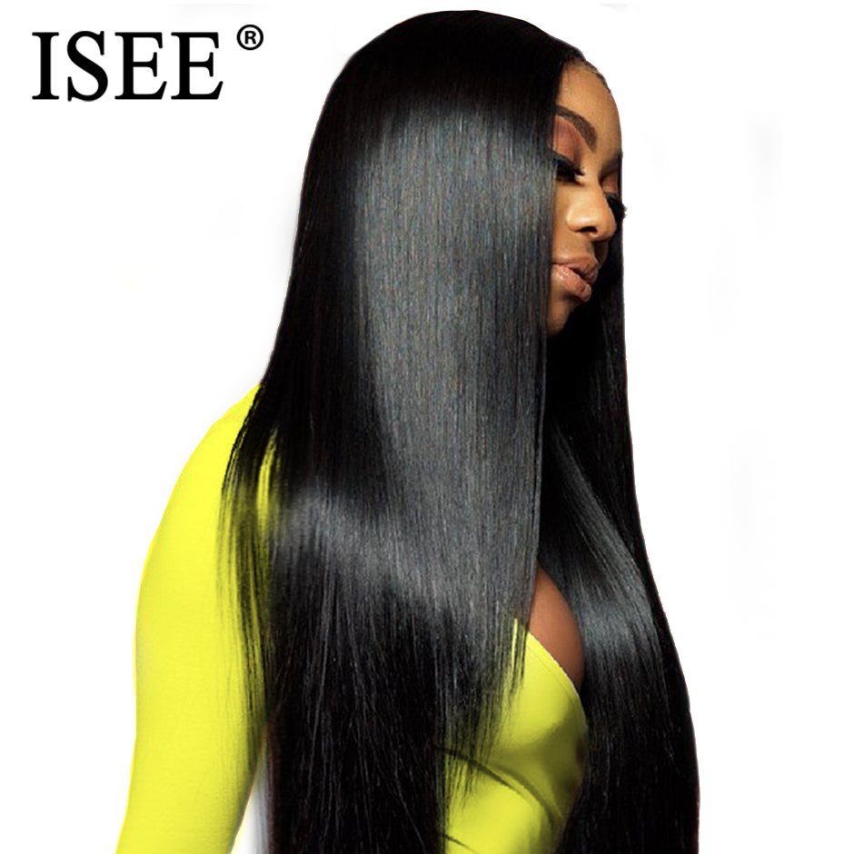 ISEE HAIR Malaysian Straight Lace Front Wig With Pre Plucked Hairline Bleached Knots 150% Remy 13x4 Lace Front Human Hair Wigs