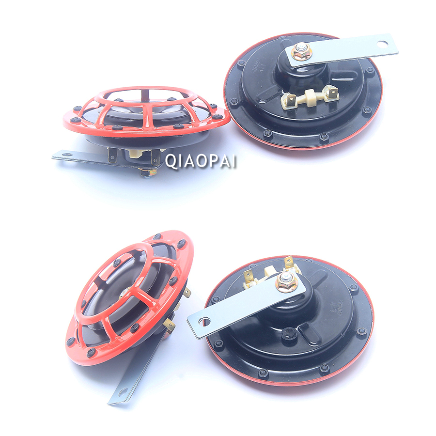 1pair Universal 12V Car horn loud Speaker Auto Electric Blast Tone Grille Mount Off roadm Red horn air 150DB motorcycle boat in Multi tone Claxon Horns from Automobiles Motorcycles