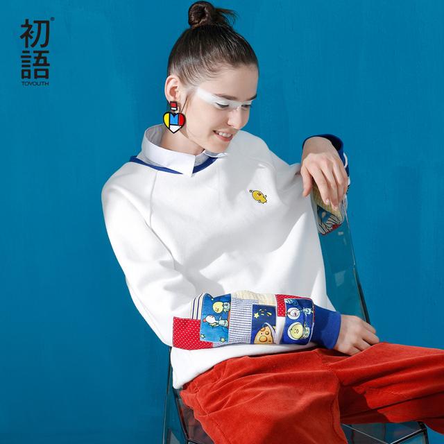 Toyouth Nova Chegada Mulheres Casuais Pulôveres de Algodão Dos Desenhos Animados Impresso Moletons Outono Espessamento Solta O-pescoço Camisolas
