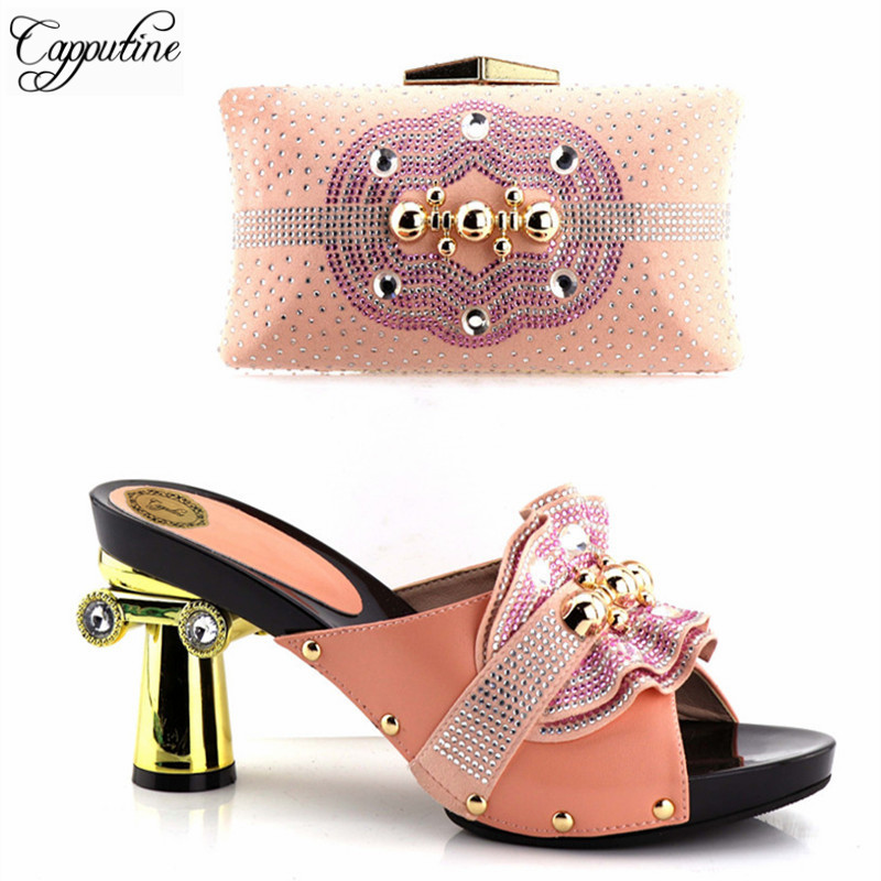 Capputine Latest Italian Woman Shoes And Bags To Match Shoes With Bag Set Bag And Shoes Set Italy Nigerian Shoes And Purse Set mi happiness red bride wedding hair tiaras gorgeous hair jewelry hanfu costume hair accessory