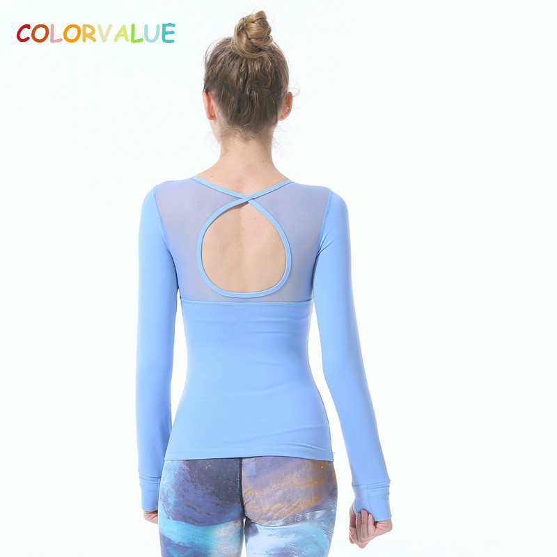 Colorvalue Women Slim Long Sleeve Yoga Tops O-neck Padded Running Gym Tights Patchwork Mesh Dance Yoga Shirt with Removable Pads chic turn down neck long sleeve pocket design padded coat for women
