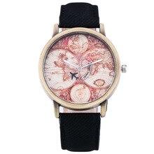 Retro Women's Quartz Wristwatch Travel World Map Canvas Student's Watch Women's Bracelet Watch Boys Girls Hour Relogio Feminino