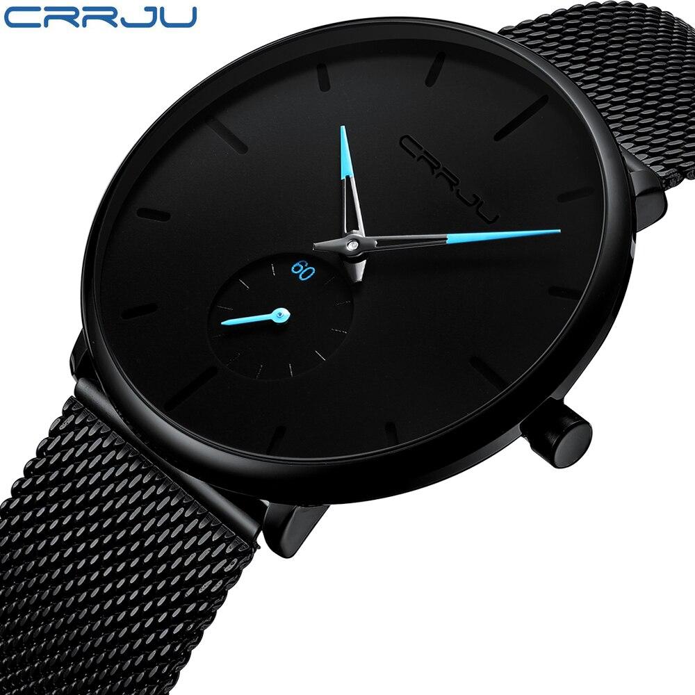 Crrju Mode montres homme Top Marque De Luxe montres à quartz Hommes décontracté Mince Maille En Acier Étanche montre de sport Relogio Masculino