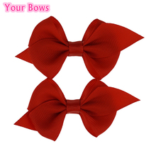цена на Your Bows 2Pcs/Lot 10Colors Grosgrain Ribbon Hair Bows Newborn Infant Hair Clips Baby Girls Bows Hairpins For Party Headwear