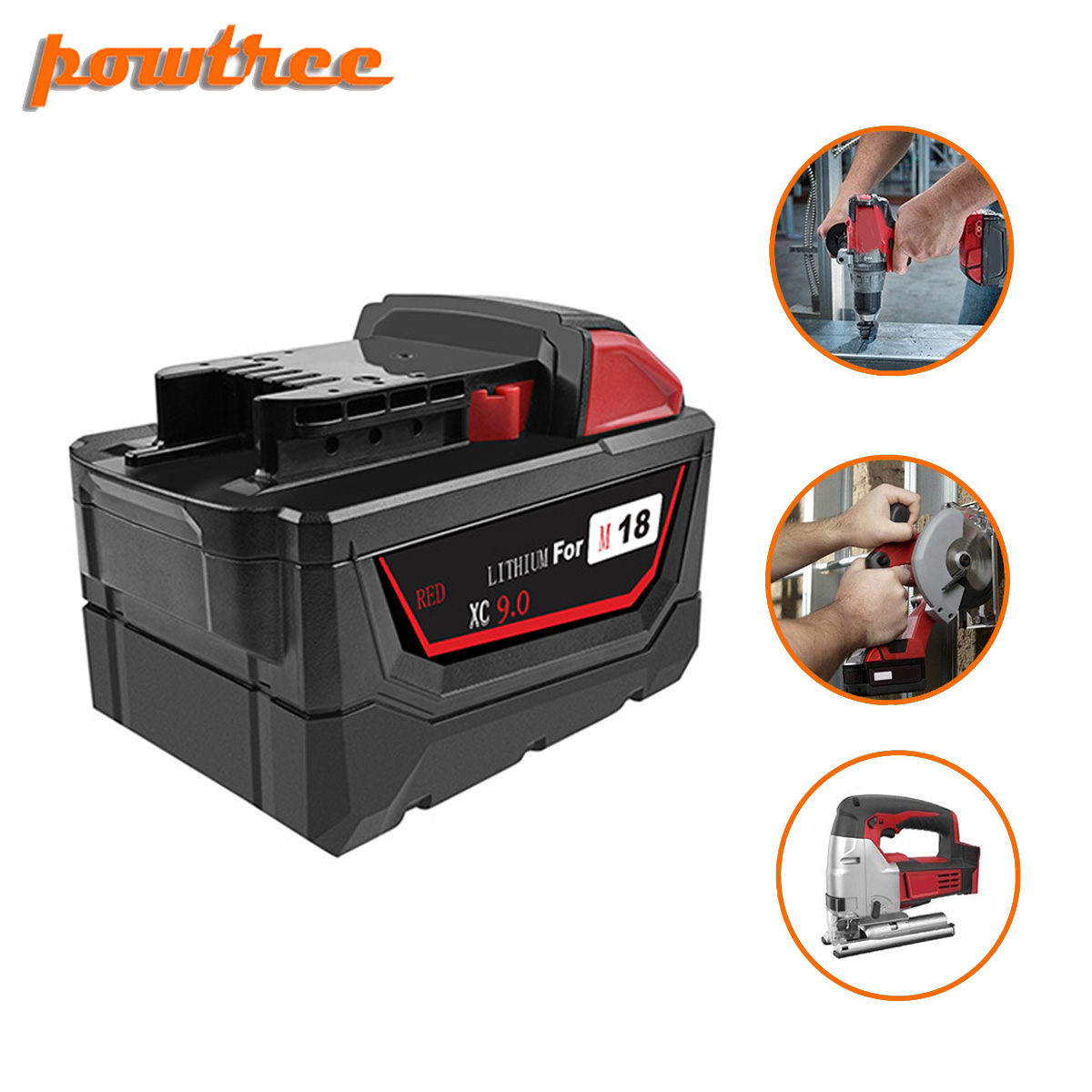 Powtree 9.0Ah Li-ion Tool Battery For Milwaukee M18 48-11-1815 48-11-1850 Repalcement M18 Battery 2646-20 2642-21CT L3