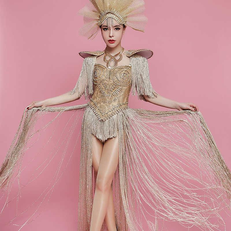 Sexy Gold Rhinestones Long Tassel Bodysuit Headdress Female Singer Nightclub  Bar Team Show Outfit Birthday Party c8069b6971e3