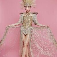 Sexy Gold Rhinestones Long Tassel Bodysuit Headdress Female Singer Nightclub Bar Team Show Outfit Birthday Party Stage Clothing