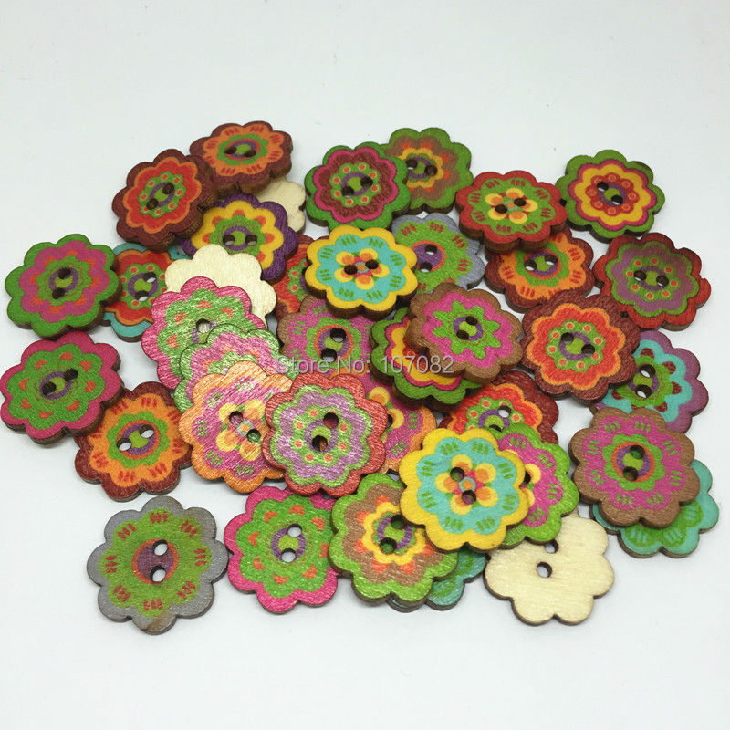 100pcs Christmas tree Wooden Buttons Sewing Scrapbooking 2-Holes Mix 20mm