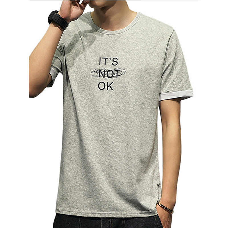 Mannen T-shirt Eenvoudige Brief Patroon Print Leisure T-shirt