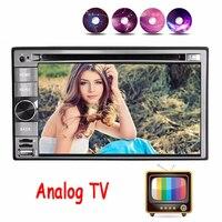 TV analógica Cuádruple núcleo 2 din android 4.4 de Radio Del Coche Reproductor de DVD de Navegación GPS En el tablero PC Del Coche de vídeo Estéreo + volante control