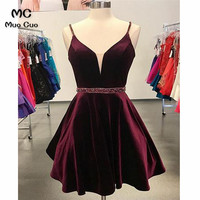 2018 A Line Burgundy Homecoming Dress Short Beaded Homecoming Graduation Dresses Deep V Neck Spaghetti Straps Cocktail Dresses