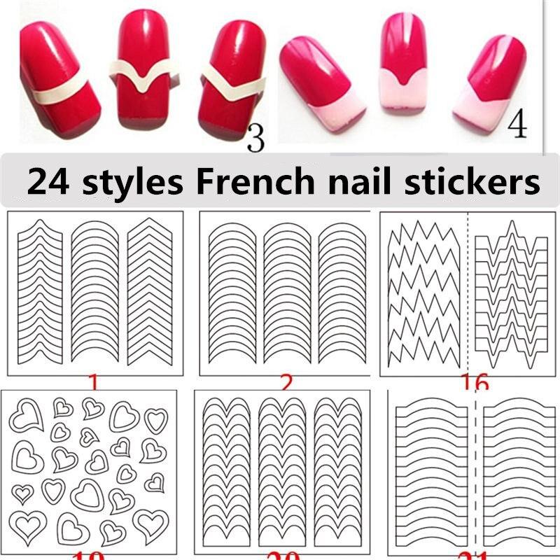 24 стиля наклейки для ногтей трафарет советы руководство французский завитки маникюр дизайн ногтей наклейки форма бахрома DIY Sencil 3D косметич...