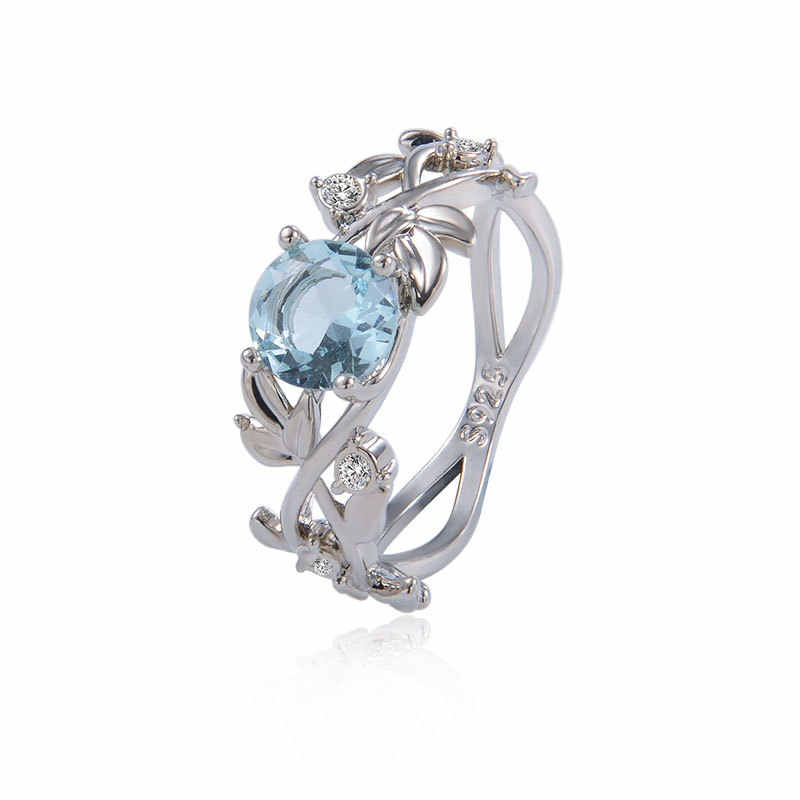 Wedding Crystal Silver Color Rings Vine Leaf Design Engagement Cubic Zircon Ring Fashion Bijoux For Women Ladies Jewelry Gifts