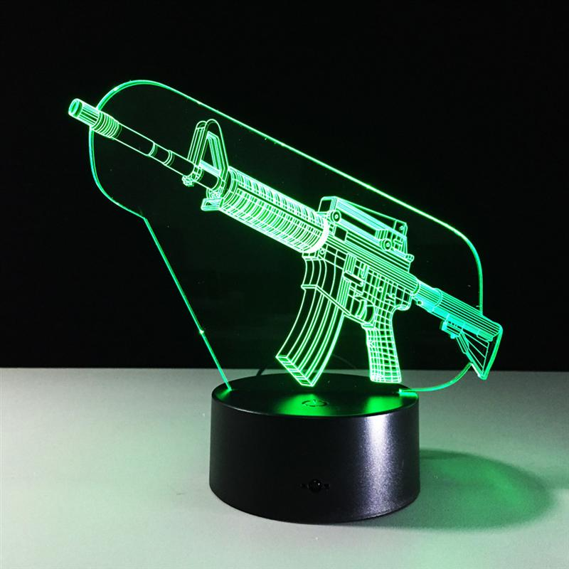 Rifle Shape Night Light 3D Stereo Vision Lamp Acrylic Colorful USB Bedroom Bedside Night Light Creative Desk Lamp elephant shape night light 3d stereo vision lamp 7 colors changing acrylic usb bedroom bedside night light creative desk lamp