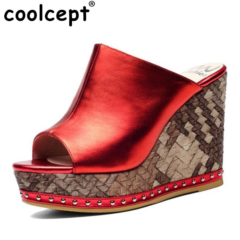 Coolcept Sexy Ladies Real Leather High Heel Sandals Women Platform Slipper Peep Toe Shoes Sexy Party Party Footwear Size 34-39 coolcept women peep toe high heel sandals ankle strap party shoes woman ladies platform vintage shoes footwear size 35 46 b030