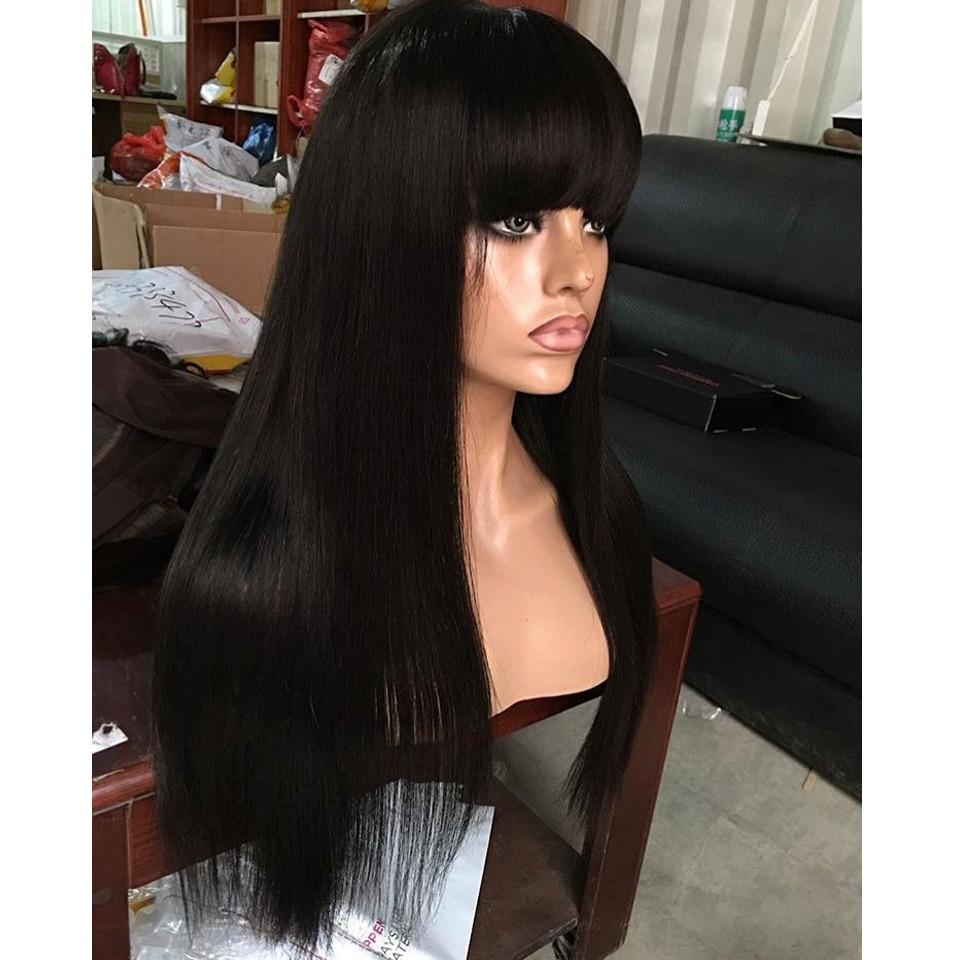 Perruques De Cheveux Humains Brésilienne Avec Frange