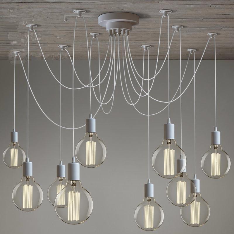 LOFT moderne blanc/noir Lustre lustres 6-16 bras rétro réglable Edison ampoule lampe E27 Art Spider plafonnier luminaire