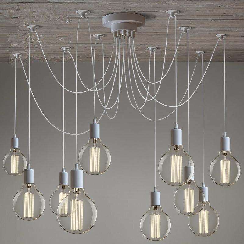 Loft moderno branco/preto lustre lustres 6-16 braços retro ajustável edison lâmpada e27 arte aranha luminária de teto