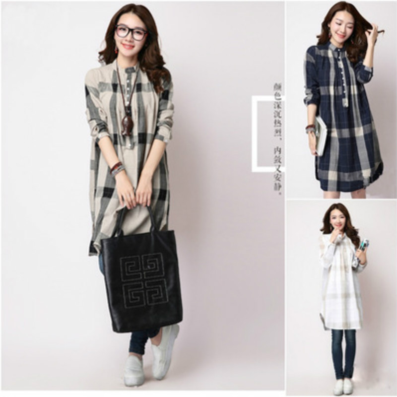 Retro Plaid Loose Casual Maternity Dresses Fall Winter ...