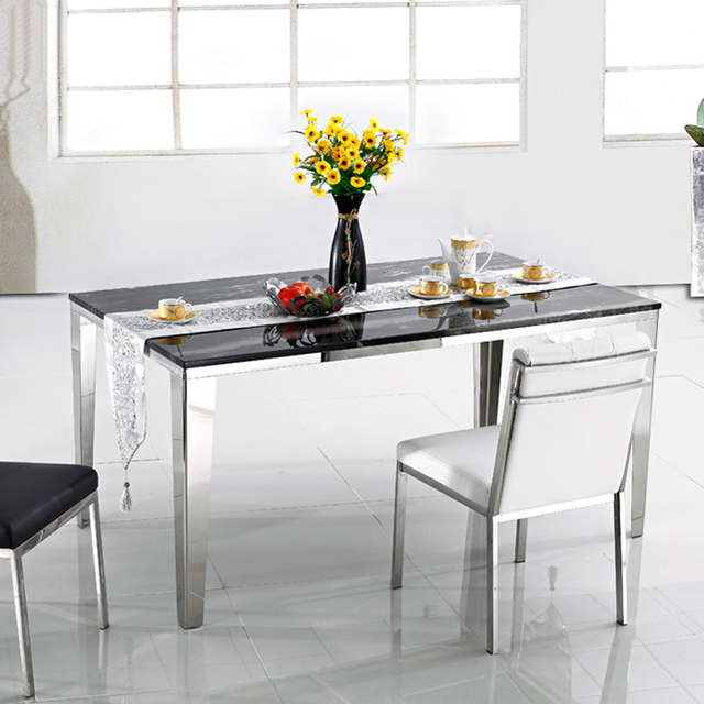 Modern Minimalist Ikea Stainless Steel Rectangular Marble Dining Table And Chairs Stylish Restaurant