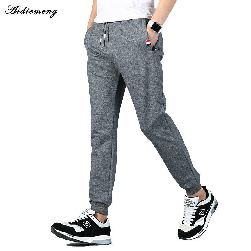 Aidiemeng Sweatpants Men 2018 Men Sportswear Pants Solid Casual Elastic Cotton Male Workout Skinny Slim Fitness Pants Young Man