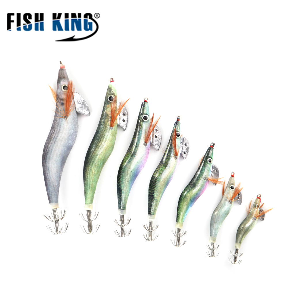 FISH KING Size1.5#2.5#3.5#4.5# Fishing Lure Lead Sinker Squid Lures Jigs Octopus Wood Shrimp Bait With Squid Hook Fishing Tackle outkit 10pcs lot copper lead sinker weights 10g 7g 5g 3 5g 1 8g sharped bullet copper fishing accessories fishing tackle