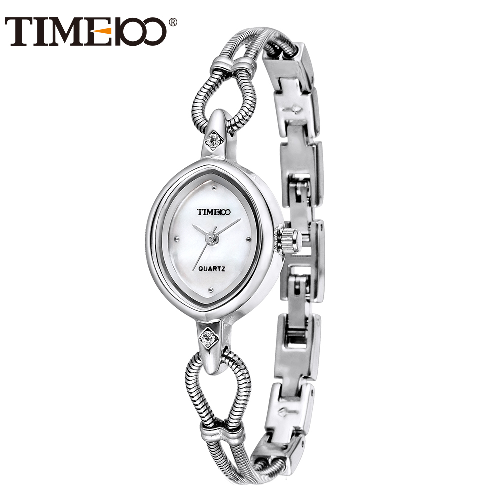 2016 TIME100 Women Watches Silver Alloy Bracelet Shell Dial Ladies Quartz Wrist Watches For Women Clock relogio feminino time100 vintage women s bracelet watch diamond shell dial copper plated strap ladies quartz watches for women relogio feminino