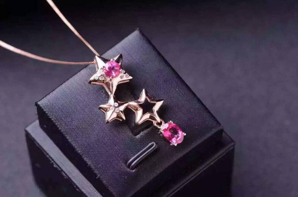 Naturel rose pierre de topaze pendentif S925 argent naturel pierre gemme pendentif collier à la mode mignon petite étoile femmes fille fête bijoux