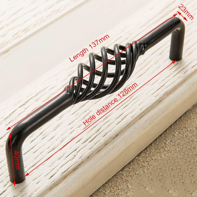 KAK винтажные антикварные бронзовые ручки для шкафа, полые ручки для птичьей клетки, ручки для выдвижных ящиков, Съемники дверей шкафа, Мебельная ручка - Цвет: 3002-128 Black