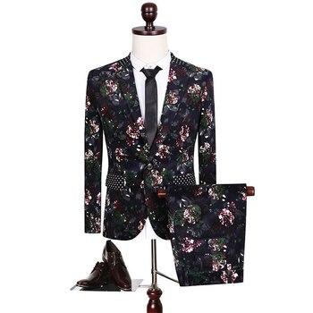 Men's Printed Suits Banquet Wedding Dress Three-piece Suit Blazers Coat Trousers Waistcoat